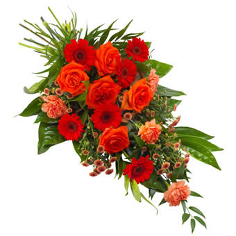 Funeral sheaf in orange and red colours.