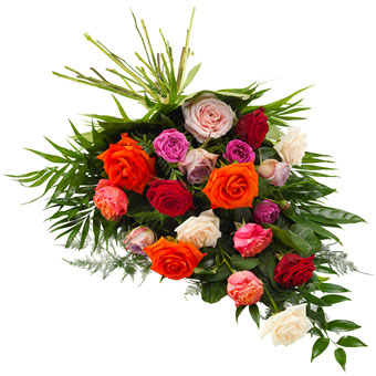 Funeral sheaf in mixed colours.
