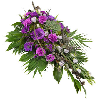 Funeral spray in purple