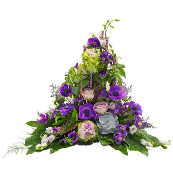 Green purple funeral spray
