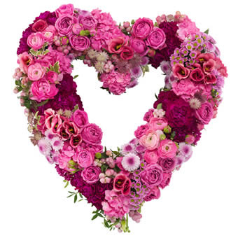 Heart-shaped pink funeral arrangement