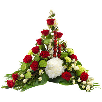 Funeral spray in red and white colours