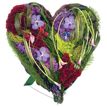 Heart-shaped colourful funeral decoration