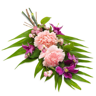 Hand bouquet in pink and violet