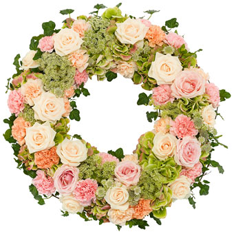Soft pink funeral wreath