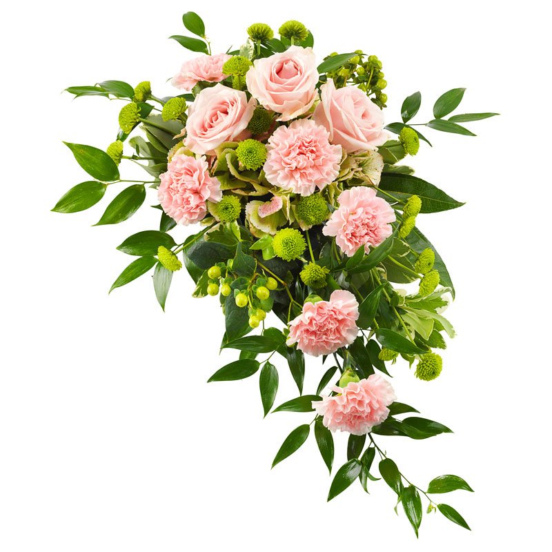Funeral spray in pink and green colours.