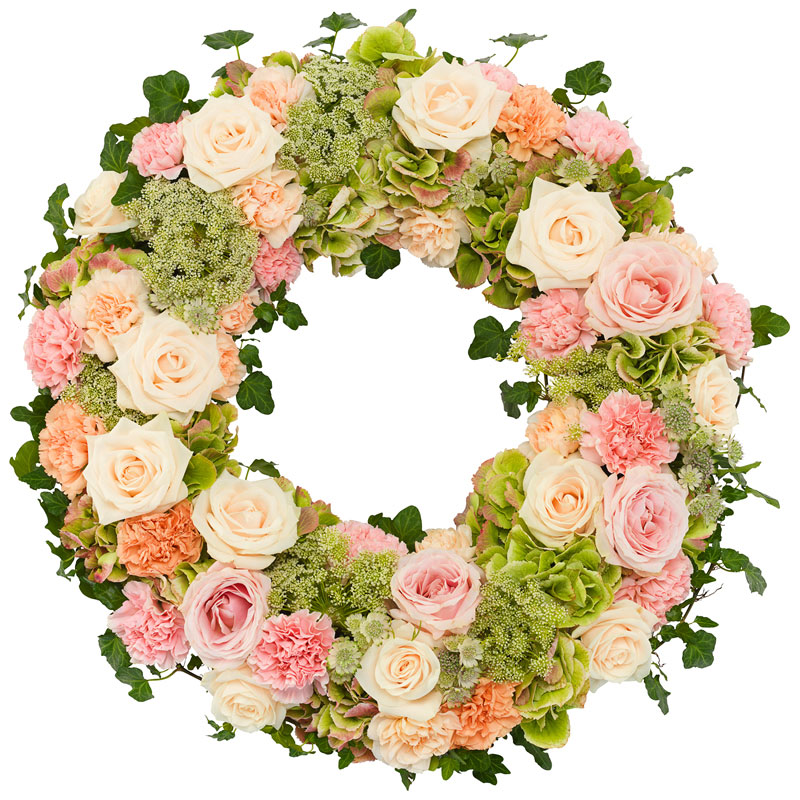 Funeral wreath soft pink